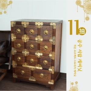 抽屜櫃/收納櫃/置物櫃/實木榆木公主格11抽【BD】